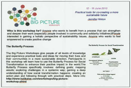 "Flyer for ""THE BIG PICTURE Workshops"" on social entrepreneurship."