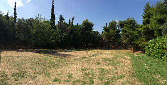 Panorama showing the foundation of the gymnasium in the park Academus, near the site of Plato's Academy.