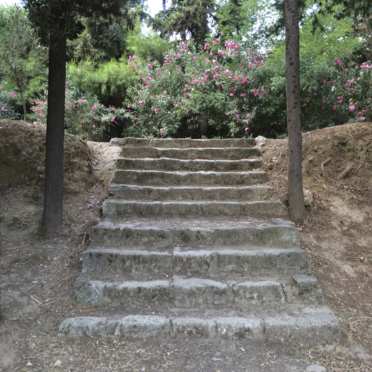 Stairs leading to the gymnasium near the site of Plato's Academy in Athens.